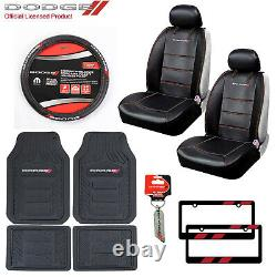 10pc Dodge Car Truck Suv All Weather Floor Mats Seat Covers Steering Wheel Cover