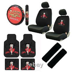 11pc Classic Betty Boop Car Truck Floor Mats Seat Covers & Steering Wheel Cover