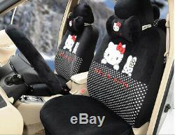 18pc Luxury universal hello kitty car seat covers Cushion Accessories black 051L