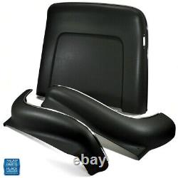 1968-72 GM Cars Bucket Seat Backs & Aprons Black With Molded Chrome 6pc Kit Side