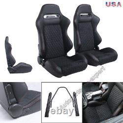 1Pair Car Racing Seats PU Leather Recline L/R Sport Seats With2 Sliders Adjust