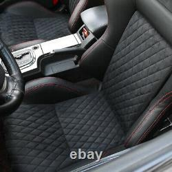 1Pair Car Racing Seats PU Leather Sport Seats with 2 Sliders Universal Black