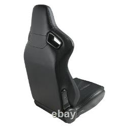 1Pair PU Leather Car Racing Seats Universal Sport Seat With 2 Sliders Black