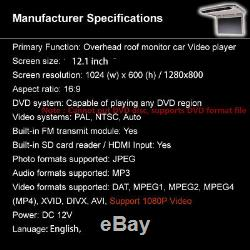 1x 12.1inch Overhead Roof Monitor Car SUV Video Media Player with Remote Control