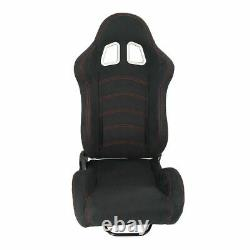 2 PC Universal Black Car Racing Seats PVC Faux Leather Reclinable Bucket+Sliders