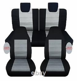 2009-2015 Suzuki Alto front+back car seat covers black/charcoal with airbags