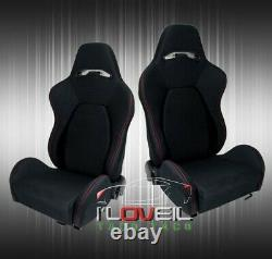 2X Fully Reclinable Racing Bucket Seats Universal Slider Rails Black Red Stitch