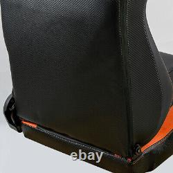 2pc Car Racing Bucket Seats Black Leather Recline Seats With2 Slider Universal