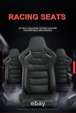 2pc Car Racing Seats Sport Full Wraped Pu Leather Reclinable Bucket Seat Sliders