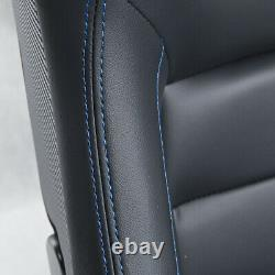 2pcs Car Racing Seats Reclinabe Leather Black Blue Bucket Seats L&R WithSliders