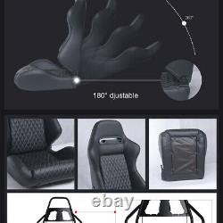 2pcs Car Racing Sport Seat PU Leather Reclinable Seat with2Sliders Universal Black