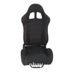 2pcs Universal Black Car Racing Seats Suede Leather Reclinable Bucket with Sliders