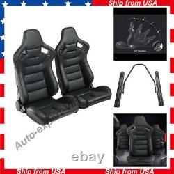 2pcs Universal Car Racing Seats PU Leather With2 Sliders 3D Full Wraped Recline