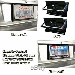 2x Car Flip License Plate Frame Number Shift Turn Off Shutter US Type with Remote