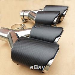 2x Carbon Fiber Dual Exhaust Tip 2.5 Inlet Car Muffler Pipe Stainless Clamp-on