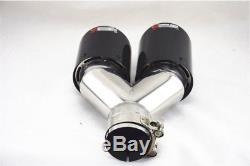 2x Stainless Dual Tip Car Carbon Fiber Exhaust Muffler Pipe 2.5 inlet with Logo