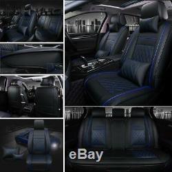 5-Seat Car Seat Cover Protector Cushions Front & Rear Full Set Black & Blue