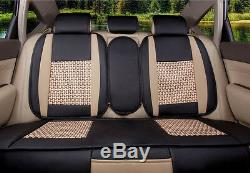 5-Seat Car Seat Covers Cooling Mesh+PU Leather Front+Rear Full Set All Seasons