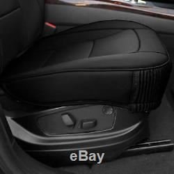 5 Seat Full Set Seat Covers Deluxe PU Leather Solid Black For Car