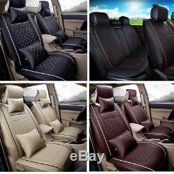 5-Seat SUV Car Seat Covers Universal+PU Leather Front+Rear Full Set All Seasons