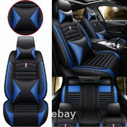 5-Seats Car Seat Cover Cushions PU Leather Front + Rear Universal Black+Blue Set