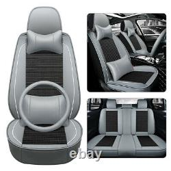 5-Seats Car Seat Cover Front+Rear Breathable Ice Silk Auto Chair Cushion Protect