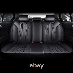 5-Seats Leather Car Seat Covers Full Set Universal Cushions Protector Waterproof