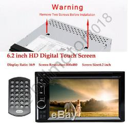 6.2'' Double Din Car Stereo Head Unit Touch DVD Player USB Radio Backup Camera