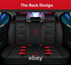 6D PU Leather Car Seat Cover Full Surrounded 5-Seats Front+Rear Cushion US Ship