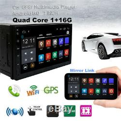 7 Android 8.0 Double 2 DIN Car GPS Stereo Radio Player Wifi Blueteeth Quad-Core