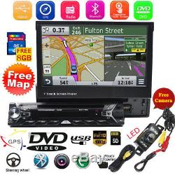 7 Single 1Din Car Radio Stereo DVD Player GPS Navigation With Map Bluetooth+Cam