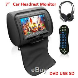 7Black TFT LCD Car Headrest Monitors withDVD Player/USB/IR Remote/Games +Headset