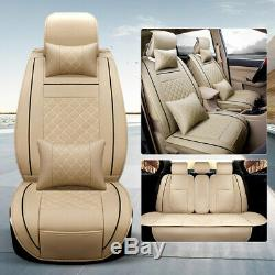 7pcs Car Seat Cover Protector Cushion Front Rear Full Set PU Leather Interior US