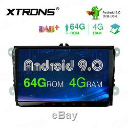 9 Android 9.0 8-Core Car Stereo 4+64GB GPS Radio Head Unit For VW Golf MK5 MK6