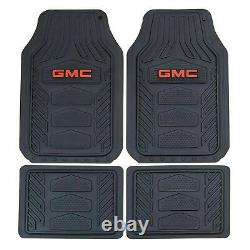 9pc GMC Car Truck Front Rear Rubber Floor Mats Seat Covers Steering Wheel Cover