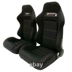 A Pair Reclinable Car Racing Seats Chair Slider Sports Bucket Cloth Left & Right