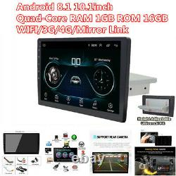 Android 8.1 Single 1 DIN 10.1 Car Stereo Radio WIFI GPS HD Touch Screen Player
