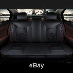Auto Car Seat Cover Microfiber Leather 5 Seats for All Seasons Size L Black