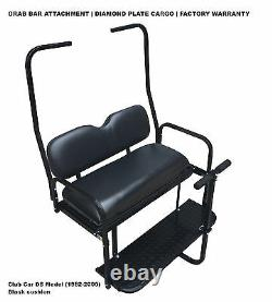 BLACK Rear Flip Folding Seat 1982-2000.5 Club Car DS Golf Cart with Roof Supports