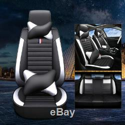 Black+Blue PU Leather Car Seat Cover Protector Cushion 5-Seat Universal Full Set