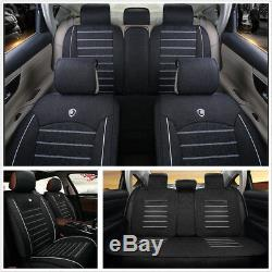 Black Deluxe Edition Linen Fabric 5Seat Car Seat Covers Front + Rear Pillow Mat