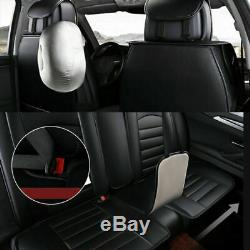 Black Luxury Car Seat Covers Front+Rear 5-Sit Full Set Cushions Car Accessories