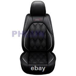 Black PU Leather Car Seat Covers 5 Seats Front+Rear Full Surround Seat Protector