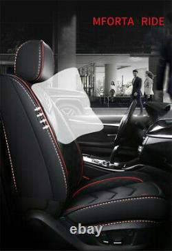 Black PU Leather Car Seat Covers Front+Back Headrest Protector for 5-seats Sedan