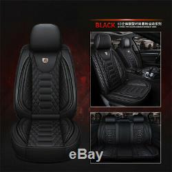 Black PU Leather Car Seat Covers Front & Rear Full Set For 5-seats Car Sedan SUV