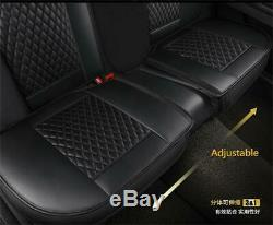 Black PU Leather Car Seat Covers Front & Rear Full Set for 5-Seats Car SUV Truck
