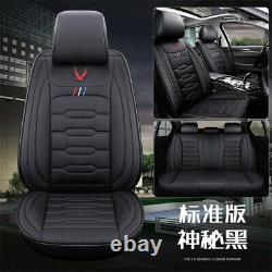 Black PU Leather Car Seat Covers Front & Rear Luxury Full Set For 5-Seat Car SUV