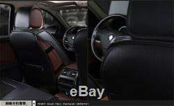 Black PU Leather Car Seat Covers Full Surrounded Front+Rear Cushion Clothes USA