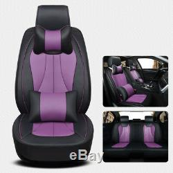 Black &Purple Car Seat Cover 3D PU Leather 5-Seats Full Front+Rear Auto Cushion