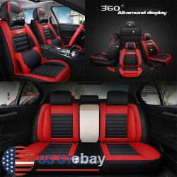 Black & RED PU Leather Car Seat Covers Full Set Universal For 5-seats Car USA